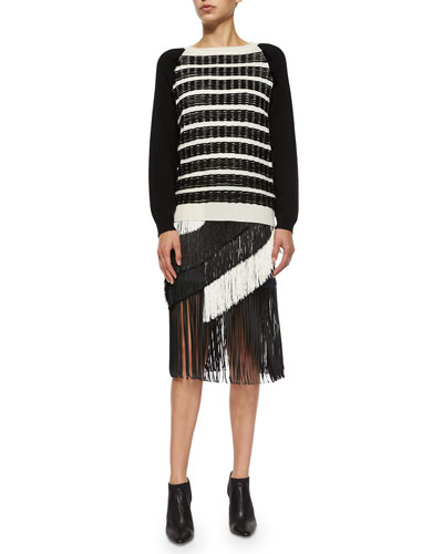 Stitch-Striped Fringe Trimmed Sweater & Asymmetric Tiered Fringe Skirt