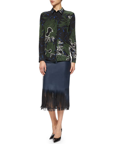 Fantasy-Print Poplin Button Blouse & Faux-Leather Fringe-Hem Pencil Skirt