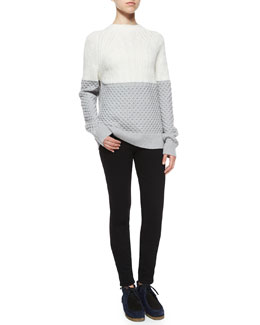 Colorblock Mixed Knit Sweater & Ultra-Skinny Denim Jeans