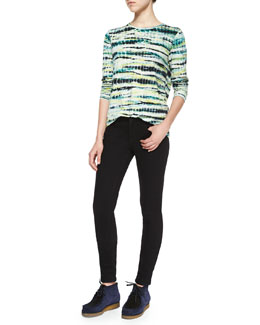 Tie-Dye Striped Crewneck Tee & Ultra-Skinny Denim Jeans