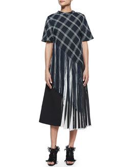 Plaid Button-Back Asymmetric Fringe Top & Half Knife-Pleated Midi Skirt