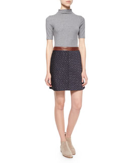 Cruzio Short-Sleeve Top & Kerash Textured Knit Skirt