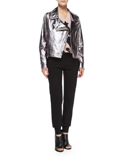 Metallic Leather Biker Jacket, Sleeveless V-Neck Printed Volume Top & High-Waist Tailored Sweatpants
