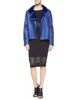 Fur-Lined Leather Biker Jacket & Long-Sleeve Striped-Mesh Body-Conscious Midi Dress