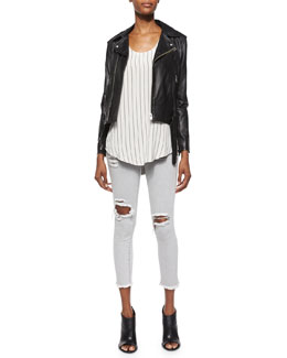 Galaxy Lambskin Leather Jacket, Coleen Sleeveless Striped Racerback Top & Jarod Ripped Denim Cropped Jeans