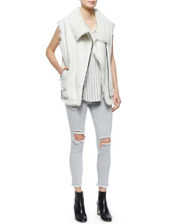 Courtney Fur-Trim Leather Moto Vest, Coleen Sleeveless Striped Racerback Top & Jarod Distressed/Ripped Denim Cropped Jeans
