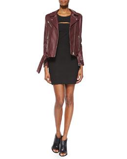 Jone Lambskin Leather Jacket & Calley Sleeveless Body-Conscious Mini Dress