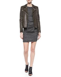 Jones Lambskin Jacket & Leticia Wrap-Front Dress