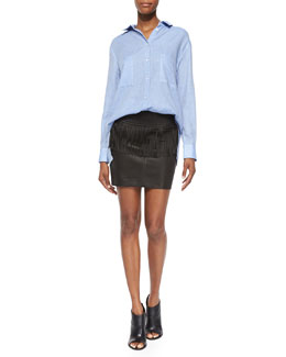 Andrea Long-Sleeve Button-Front Cotton Top & Gin Fringe Peplum Leather Skirt