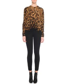Leopard-Print Knit Cardigan, Leopard-Print Underpinning Top & Ankle-Zip Leggings