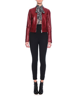 Glossy Leather Moto Jacket, Mimosa Tie-Neck Floral-Print Blouse & Ankle-Zip Leggings