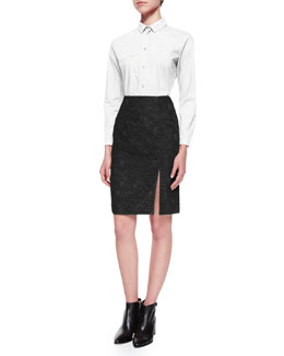 Long-Sleeve Poplin Blouse W/ Embroidery Detail & Lace Front-Slit Pencil Skirt