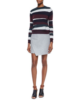 Mosaic-Striped Merino Pullover & Mid-Rise Envelope Skirt