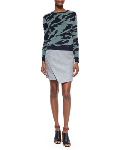 Textured Camo Wool Pullover & Mid-Rise Flannel Envelope Skirt