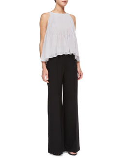 Chloe Pleated Chiffon Tank & Hayden High-Waist Pintuck Trousers