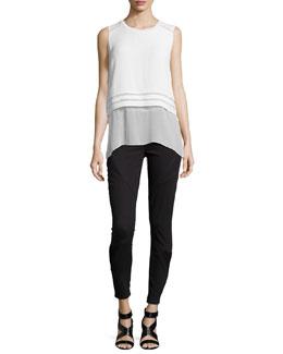 Rudy Sleeveless Blouse W/ Popover & Azella Moto Skinny Jeans
