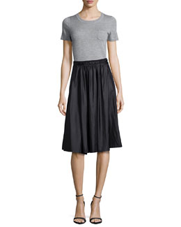Slone Short-Sleeve Cashmere Sweater & Jenna Pleated Skirt