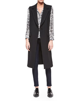Wool Sleeveless Long Overcoat & Tessa Scribble-Print Blouse