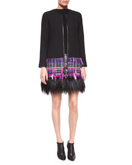 Karena Couture Fur-Trim Tweed Coat, Funnel Neck Shell & Couture Tweed Pencil Skirt
