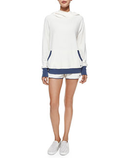 Jodie Velour Hooded Pullover & Sadie Terry Knit Track Shorts