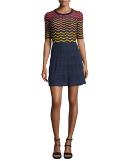 Short-Sleeve Greek Key Top & Rib-Stitch Flared Skirt