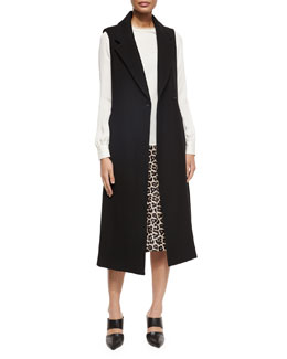 Tremayah Sleeveless Jacket, Eri Long-Sleeve Blouse & Midi L. Sahara Printed Leather Skirt