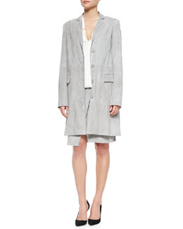 Long Suede Cocoon Coat, Long-Sleeve Wrap Top & Lambskin Suede Wrap Skirt
