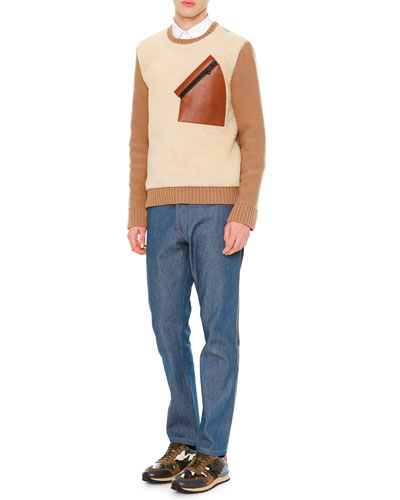 Long-Sleeve Colorblock Sweater, Solid Long-Sleeve Shirt & Contrast-Stitch Denim Jeans