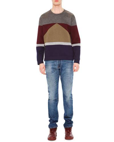 Long-Sleeve Colorblock Sweater & Chino-Fit Straight Denim Jeans