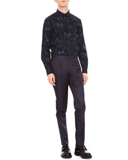 Butterfly-Print Dress Shirt & Slim-Fit Trousers