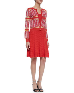 Grid-Stitched Cropped Cardigan & Sleeveless Multi-Pattern Fit & Flare Dress