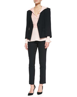 Jacket W/ Cape Detail, Long-Sleeve Draped-Front Shirt & Slim Satin-Trim Ankle Pants