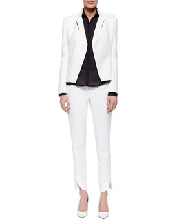 Slim Jacket with Slit Detail, Long-Sleeve Paneled Shirt & Slim Striped-Waist Cotton Pants