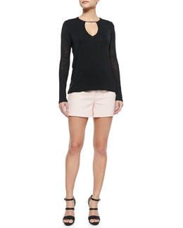 Long-Sleeve Keyhole-Neck Top & Structured Crepe Shorts