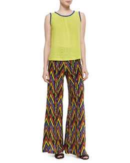 Contrast-Trim Jersey Knit Tank Top & Wide-Leg Tribal Zigzag-Print Pants