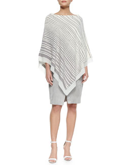 Off-Shoulder Striped Poncho & Lamb Suede Wrap Skirt