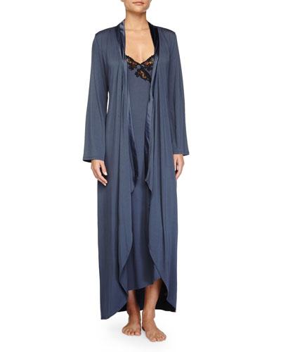 Primula Asymmetric Cutaway Long Robe & Lace-Trim Long Gown