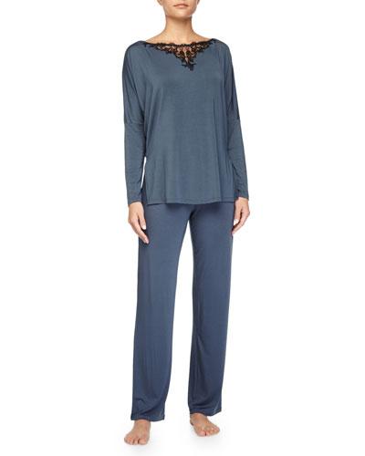 Primula Lace-Trim Long-Sleeve PJ Tee & Drawstring Pants, Light Blue