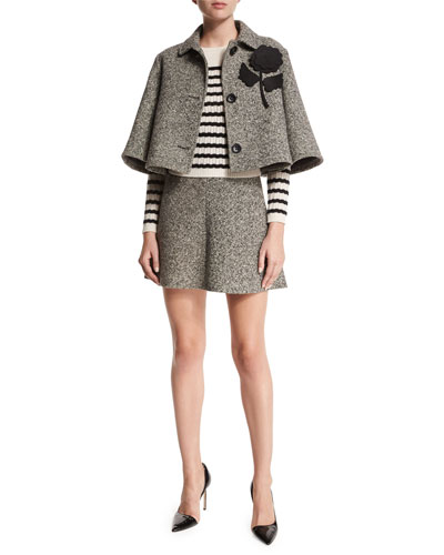 Tweed Cropped Jacket, Striped Perforated Sweater & High-Waist Tweed Fluted Skirt