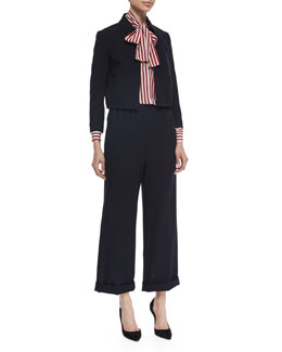 Cropped Zip-Front Jacket, Tie-Neck Striped Blouse & High-Waist Cuffed Pants
