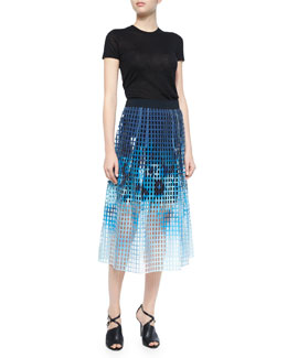 Slone Short-Sleeve Sweater & Dillan Printed Laser-Cut Midi Skirt