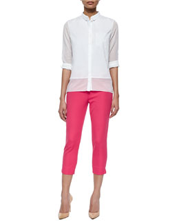 Vivian Long-Sleeve Sheer-Inset Blouse & Juliette Slim Cropped Pants
