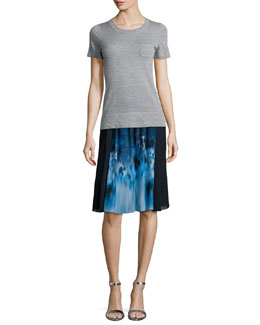 Slone Short-Sleeve Cashmere Sweater & Jenna Floral-Print Pleated Skirt