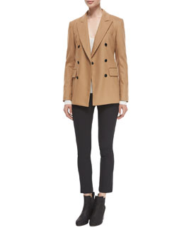 Scroll Double-Breasted Wool-Blend Blazer, Libbey Ribbed V-Neck Sweater & Simone Stretch Ankle Pants