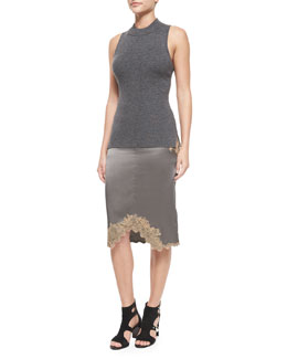 Alanna Sleeveless Merino Top & Izabella Lace-Trim Silk Skirt