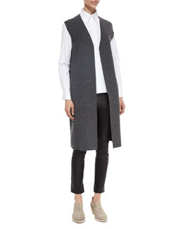Alanna Long Knit Vest, Faye Long-Sleeve Poplin Shirt & Simone Leather Ankle Pants