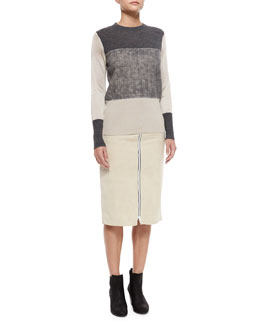 Marissa Colorblock Knit Sweater & Allison Front-Zip Suede Skirt