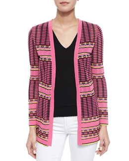 Grid-Stitch Long Cardigan & Double-V Scalloped Tank