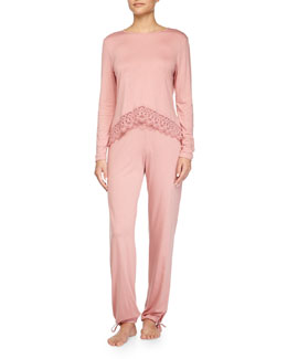 Edith Lace-Trim Long-Sleeve PJ Top & Pants