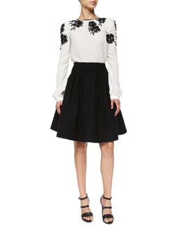 Long-Sleeve Floral-Embellished Blouse & Box-Pleated Boucle Skirt